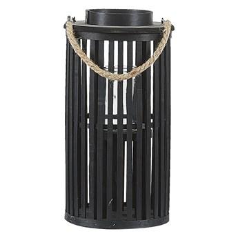 Lampion czarny drewniany 40 cm świecznik naturalny styl boho