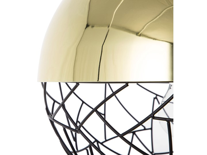 Lampa sufitowa złota metalowa 124 cm ażurowa czarna osłona wysoki połysk glamour Lampa druciana Lampa z kloszem Kolor Czarny Kategoria Lampy wiszące