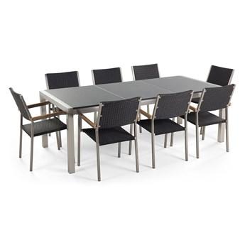 Zestaw mebli ogrodowych jadalniany szary stół granitowy polerowany 220 x 100 cm 8 czarnych krzeseł z technorattanu sztaplowanych