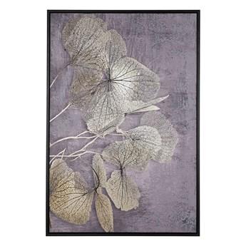 Obraz w ramie złoto-szary nadruk z roślinami na płótnie liście 63 x 93 cm nowoczesna dekoracja ścienna styl glamour