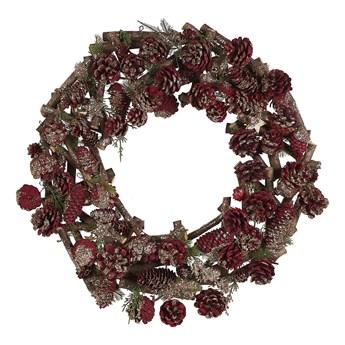 Wieniec świąteczny ciemne drewno z czerwonym drewniany plastikowy szyszki okrągły 50 cm tradycyjny wygląd