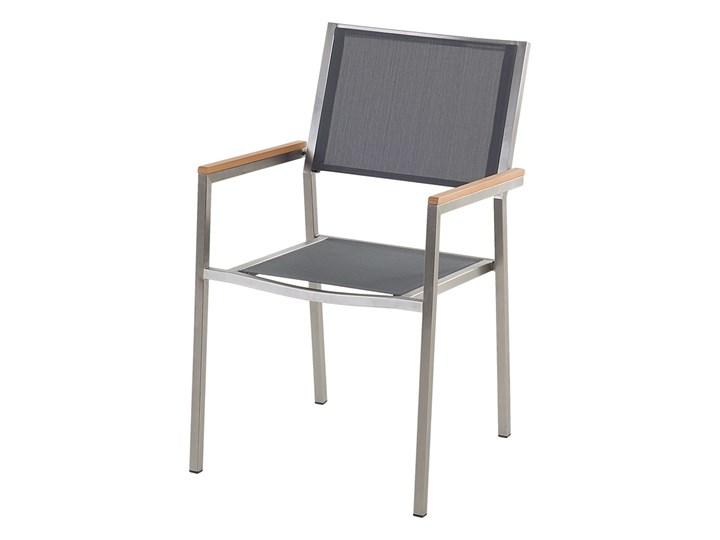 Zestaw mebli ogrodowych jadalniany czarny stół granit/bazalt 180 x 90 cm 6 krzeseł szarych tekstylnych sztaplowanych Stoły z krzesłami Tworzywo sztuczne Stal Zawartość zestawu Krzesła