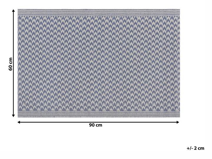 Dywan zewnętrzny granatowy materiał syntetyczny dodatki na balkon prostokątna mata 60 x 90 cm zygzakowaty wzór Dywany 60x90 cm Prostokątny Syntetyk Pomieszczenie Balkon i taras