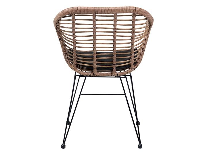 Zestaw balkonowy brązowy rattanowy 2 krzesła 1 stół ze szklanym blatem nowoczesny Stoły z krzesłami Technorattan Stal Liczba miejsc Dwuosobowy