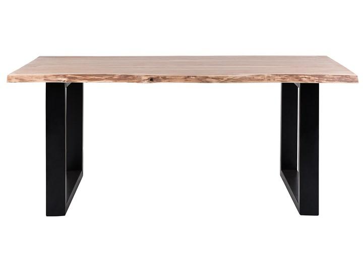Stół do jadalni drewniany blat nieregularny czarne metalowe nogi 180 x 94 cm styl industrialny Drewno Styl Rustykalny Długość 180 cm  Rozkładanie