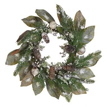 Wieniec świąteczny zielony drewniany plastikowy szyszki sztuczny śnieg okrągły 50 cm tradycyjny wygląd