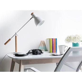 Lampa biurkowa biała jasne drewno regulowana szkolna nocna domowe biuro sypialnia pokój dziecięcy metalowa