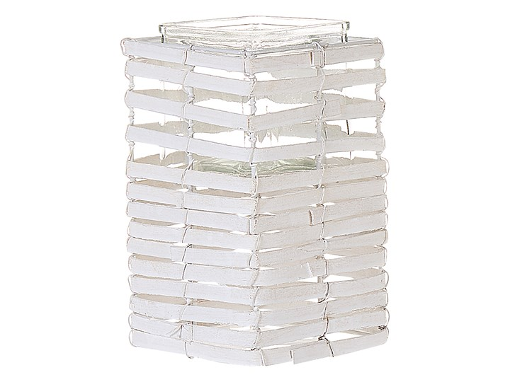 Zestaw 3 świeczników białe drewniane kwadratowe wysokie różne rozmiary boho design szklany pojemnik Żelazo Metal Szkło Drewno Kolor Biały