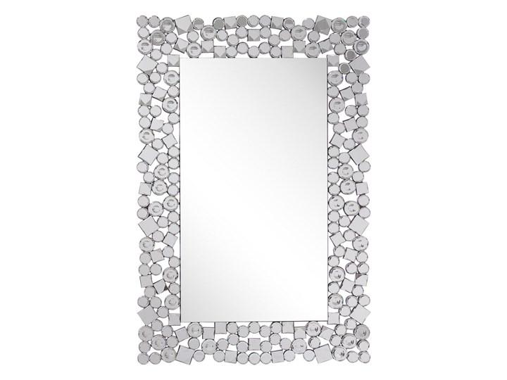 Lustro ścienne srebrne 60 x 90 cm prostokątne wiszące dekoracyjna rama styl glamour Lustro z ramą Kolor Srebrny