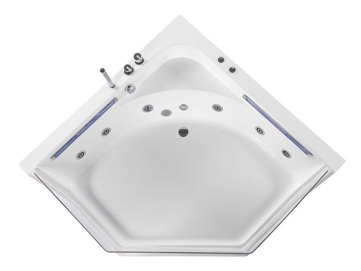 Wanna narożna biała LED hydromasaż system nowoczesna dla 2 osób Stal Akryl Kolor Biały Kategoria Wanny