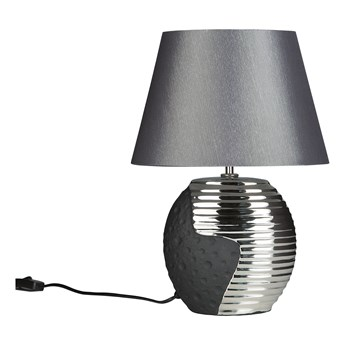 Lampka nocna czarna ze srebrnym ceramiczna ozdobna