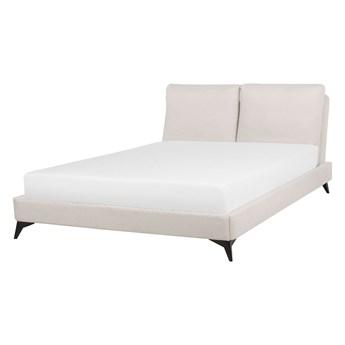Łóżko ze stelażem beżowe tapicerowane szenilą 160 x 200 cm z wezgłowiem