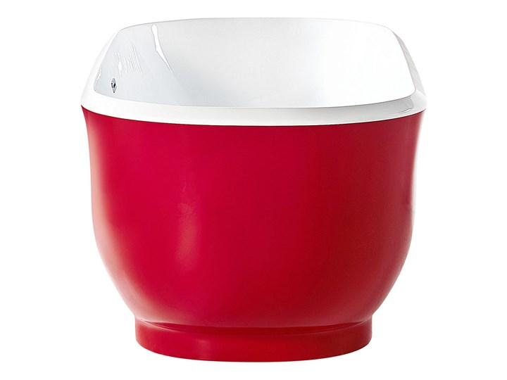Wanna wolnostojąca czerwona akrylowa 170 x 77 cm system przelewowy owalna współczesna Wolnostojące Kolor Czerwony Kategoria Wanny