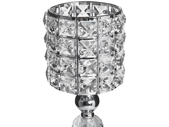 Świecznik srebrny szklany 33 cm z kryształkami Metal Szkło Kategoria Świeczniki i świece