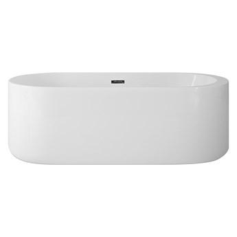 Wanna wolnostojąca biała akrylowa 170 x 80 cm system przelewowy owalna współczesna