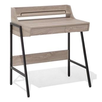 Małe biurko jasnobrązowe 73 x 48 cm z nadstawką i szufladami na stalowej ramie