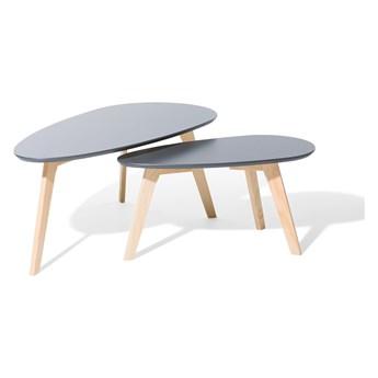 Zestaw 2 stolików kawowych szary nóżki jasne drewno skandynawski minimalistyczny