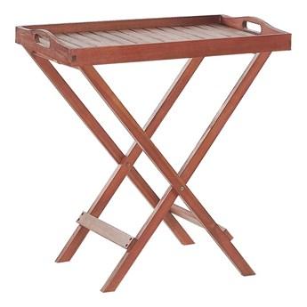 Stolik ogrodowy ciemne drewno lite akacjowe 68 x 45 x 73 cm składany z tacą Beliani