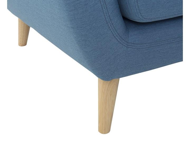 Narożnik lewostronny niebieski 3-osobowy pikowany styl skandynawski W kształcie L Szerokość 182 cm Nóżki Na nóżkach