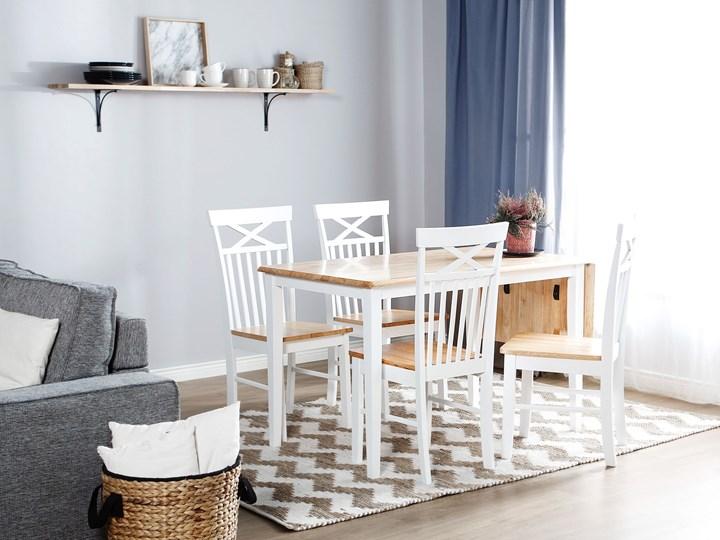 Stół do jadalni jasne drewno kauczukowe białe nogi rozkładany prostokątny 160 - 120 x 75 cm styl skandynawski Długość 120 cm  Długość 160 cm  Kolor Biały