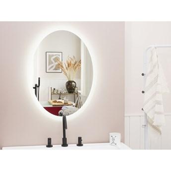 Lustro łazienkowe owalne srebrne 60 x 80 cm z podświetleniem LED system zapobiegający parowaniu