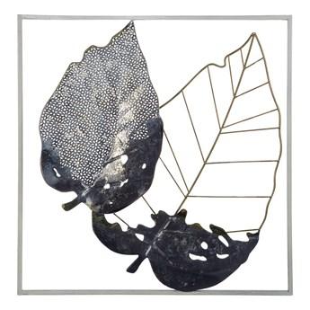 Dekoracja ścienna liście czarno-złota metalowa 50 x 50 cm ażurowa ozdoba styl nowoczesny