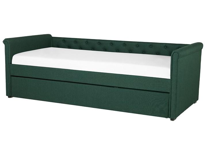 Łóżko dziecięce wysuwane ze stelażem ciemnozielone tapicerowane tkaniną pikowane oparcie 90 x 200 cm Tworzywo sztuczne Rozmiar materaca 90x200 cm Drewno Kolor Zielony