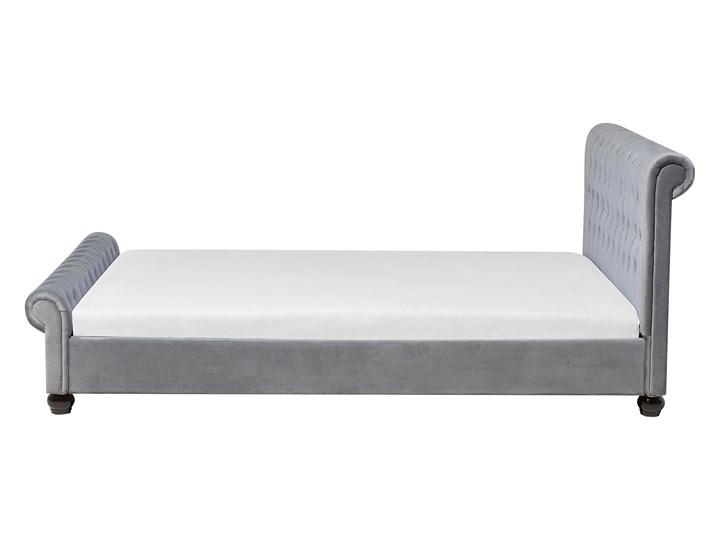Łóżko ze stelażem szare welurowe 180 x 200 cm z zagłówkiem pikowane styl glamour Łóżko tapicerowane Kategoria Łóżka do sypialni Kolor Szary