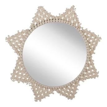 Lustro ścienne beżowe bawełniana rama ø 45 cm gwiazda makrama plecionka boho