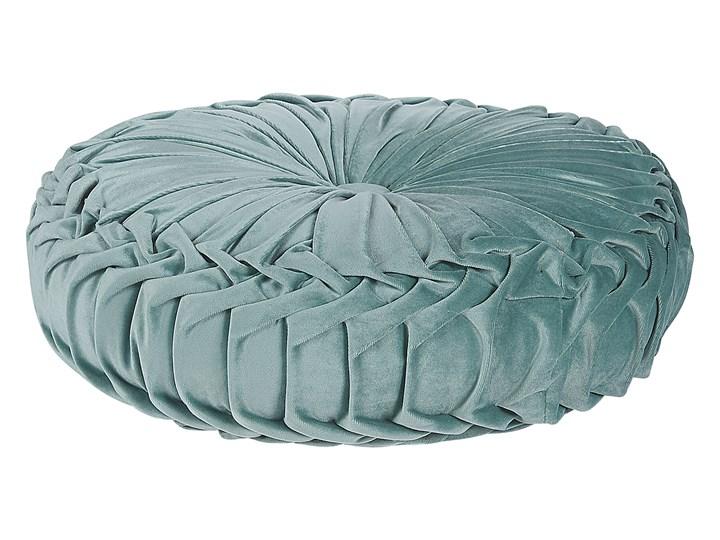 Poduszka dekoracyjna zielona plisowana okrągła 40 cm z wypełnieniem ozdobna akcesorium salon sypialnia Okrągłe Poliester Wzór Orientalny Kategoria Poduszki i poszewki dekoracyjne