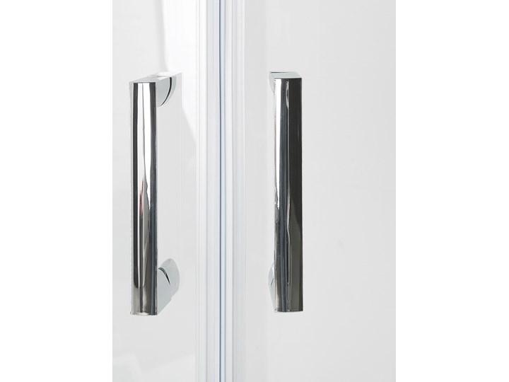 Kabina prysznicowa srebrna szkło hartowane aluminum podwójne drzwi półokrągłe 80x80x185cm nowoczesny design Narożna Rodzaj drzwi Rozsuwane