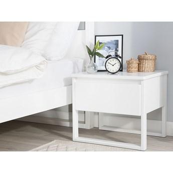 Stolik nocny białe drewno sosnowe z szufladą styl retro sypialnia