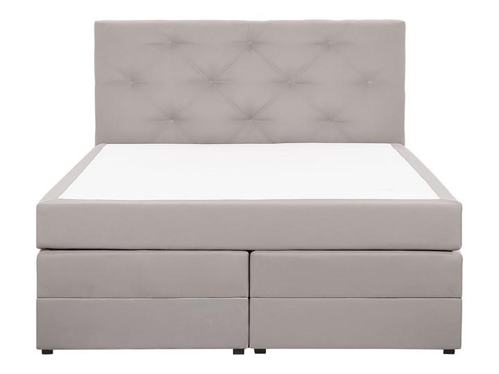 Łóżko kontynentalne jasnoszare tapicerowane z pojemnikami 160 x 200 cm boxspring wezgłowie materac sprężynowy topper Kategoria Łóżka do sypialni Łóżko tapicerowane Kolor Szary