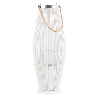 Lampion dekoracyjny biały drewno bambusowe 72 cm ozdoba latarnia na świecę