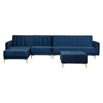 Narożnik rozkładany niebieski welurowy modułowy 5-osobowy z otomaną nowoczesna pikowana granatowa sofa do salonu z szezlongiem prawostronna