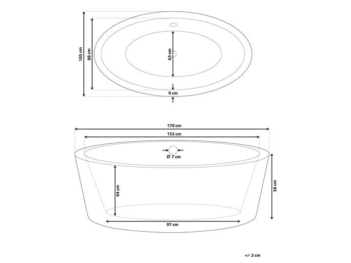 Wanna wolnostojąca biała akrylowa 170 x 105 cm system przelewowy owalna retro Wolnostojące Kolor Biały Długość 170 cm Kategoria Wanny