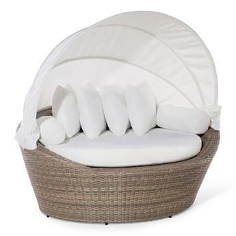 Kosz plażowy jasnobrązowy z białym polirattan z dachem przeciwsłoneczny