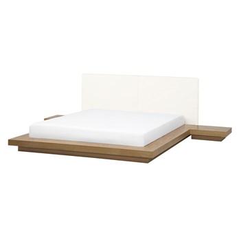 Łóżko jasne drewno 180 x 200 cm 2 stoliki nocne wysoki zagłówek styl japoński