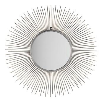 Lustro wiszące ścienne srebrne 80 cm okrągłe metalowe promienie słońca