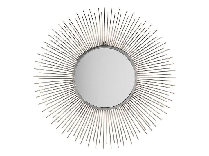 Lustro wiszące ścienne srebrne 80 cm okrągłe metalowe promienie słońca Lustro z ramą Pomieszczenie Przedpokój