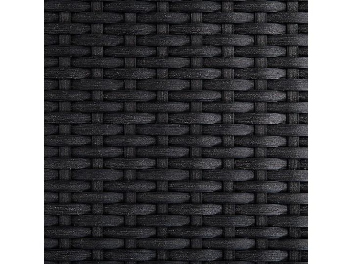 Zestaw mebli ogrodowych jadalniany czarny stół szkło hartowane 180 x 90 cm 6 krzeseł czarnych z technorattanu sztaplowanych Stoły z krzesłami Stal Styl Nowoczesny
