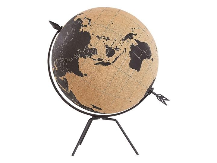 Figurka dekoracyjna globus brązowy korek 25 cm Metal Globusy Kolor Czarny Kategoria Figury i rzeźby