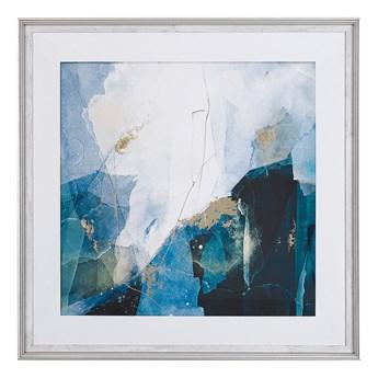 Obraz w ramie niebieski wydruk na papierze 60 x 60 cm abstrakcja dekoracja ścienna