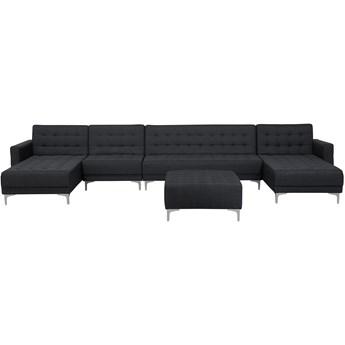 Narożnik rozkładany grafitowy modułowy 6-osobowy z otomaną nowoczesna pikowana sofa do salonu z szezlongami