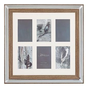 Multiramka ciemne drewno drewniana lustrzana 50 x 50 cm na zdjęcia 6 fotografii 10 x 15 cm kolaż wisząca