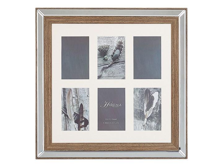 Multiramka ciemne drewno drewniana lustrzana 50 x 50 cm na zdjęcia 6 fotografii 10 x 15 cm kolaż wisząca Kategoria Ramy i ramki na zdjęcia Pomieszczenie Salon