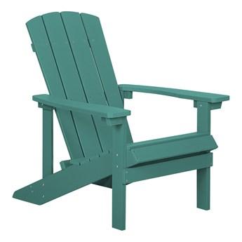 Krzesło ogrodowe zielone leżak z podłokietnikami balkonowy imitacja drewna