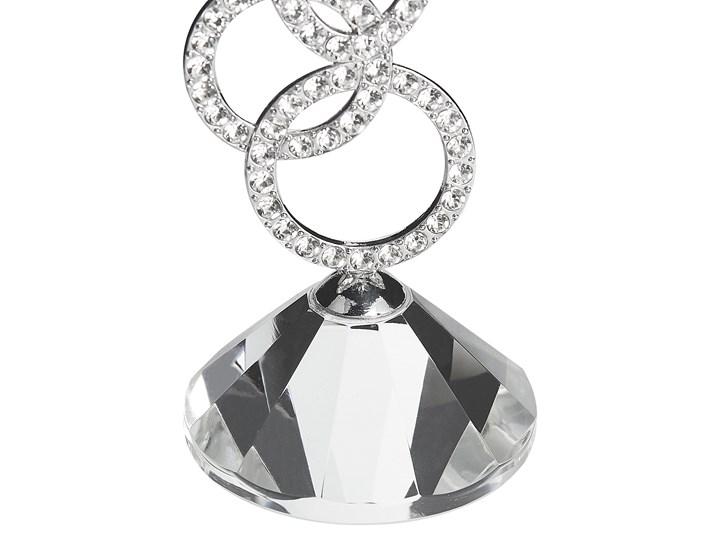 Świecznik srebrny metalowy 17 cm glamour kryształowy kwiat Szkło Kategoria Świeczniki i świece