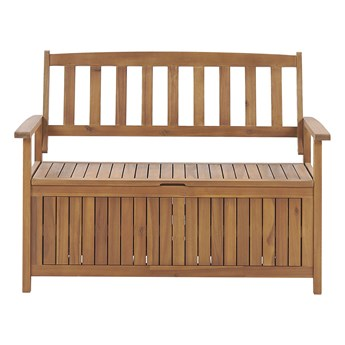 Ławka ogrodowa ze schowkiem drewno akacjowe duży pojemnik siedzisko dla 2 osób jasne drewno 120 cm