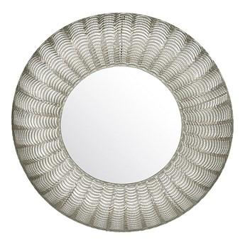 Lustro ścienne srebrne metalowa rama okrągłe 77 cm wiszące dekoracyjne styl glamour do salonu sypialni przedpokoju